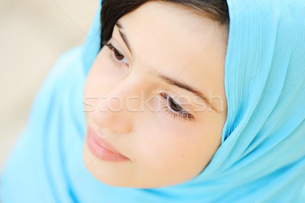 Güzel Müslüman Arapça kız başörtüsü gülümseme Stok fotoğraf © zurijeta