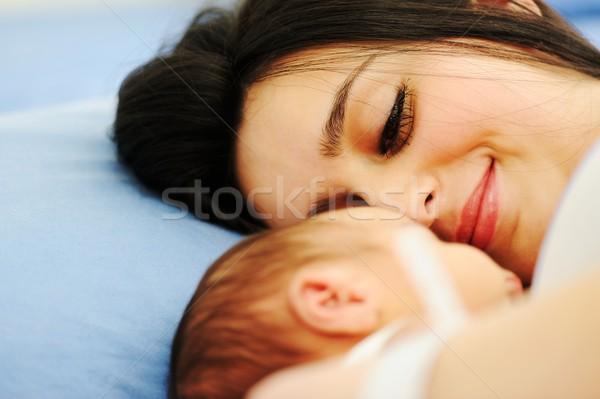 Woman holding her newborn baby at hospital Stock photo © zurijeta