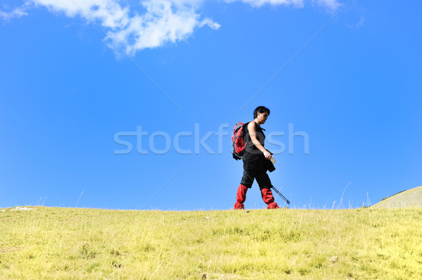 Hiker in mountains at grassland with sky above Stock photo © zurijeta