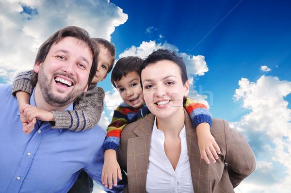 Very beautiful happy family, four members Stock photo © zurijeta