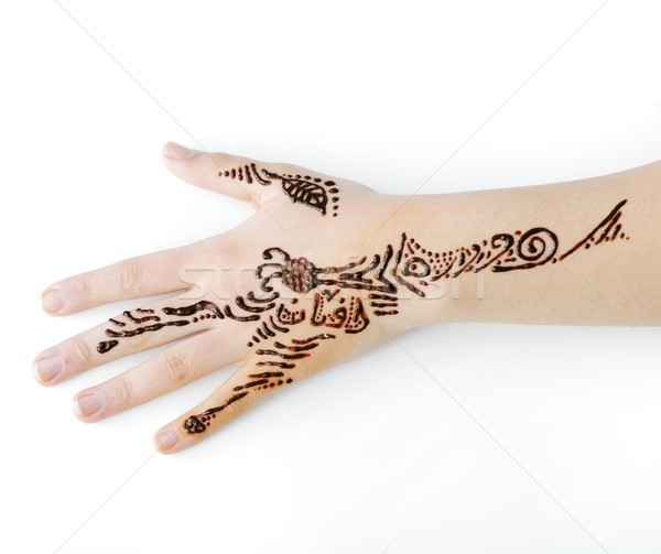 Little cute girl with caligraphy ornaments on hand Stock photo © zurijeta