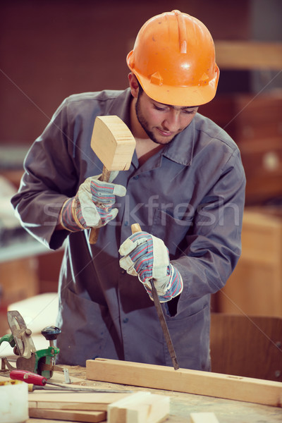 Stock photo: Workers in industrial wood factory