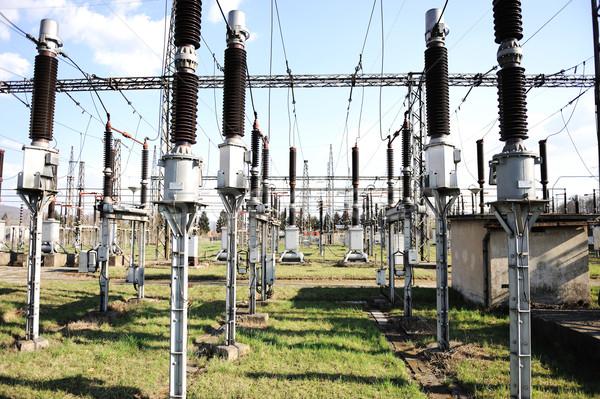 Centrale électrique électriques énergie ciel métal Photo stock © zurijeta