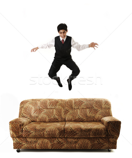 Foto stock: Jóvenes · empresario · saltar · alto · sofá · aislado
