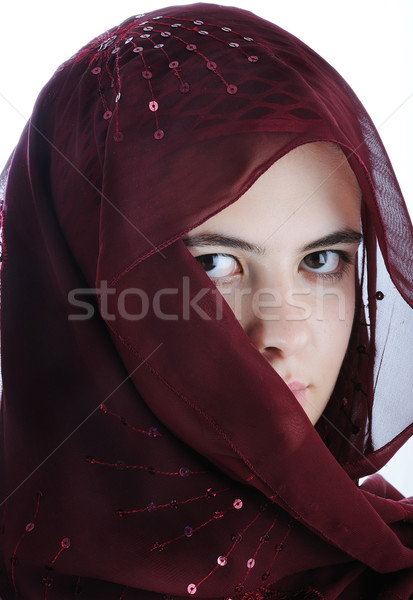 Arab tinédzser női izolált fehér arc Stock fotó © zurijeta
