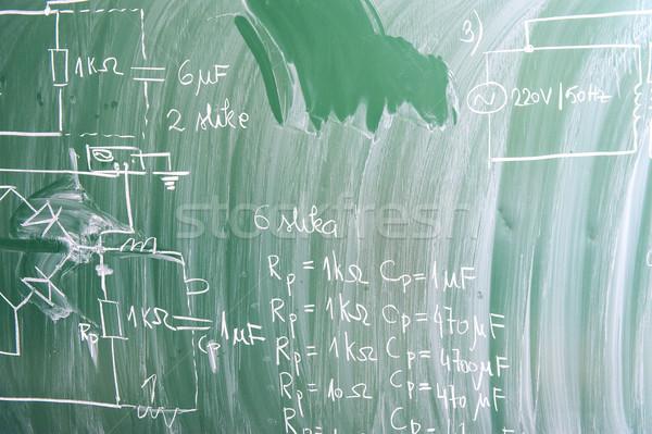 Okul tahta fizik formüller eğitim öğretmen Stok fotoğraf © zurijeta