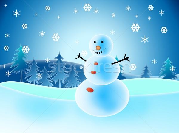 Resimli kardan adam kar kar taneleri mutluluk ağaç Stok fotoğraf © zurijeta