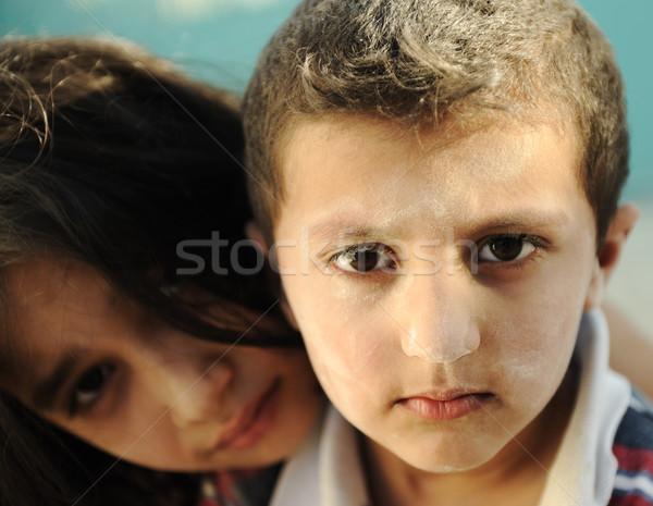 Mały brudne brat siostra ubóstwa złe Zdjęcia stock © zurijeta