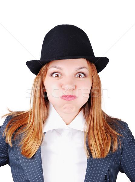 Привлекательная женщина смешные лице женщину девушки рук Сток-фото © zurijeta