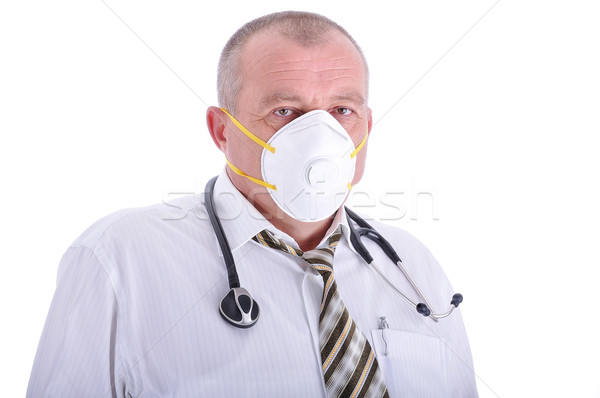 Positivo ancianos doctor de sexo masculino ropa máscara cara Foto stock © zurijeta
