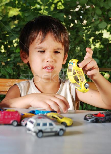 Kinderen spelen auto speelgoed outdoor zomer Stockfoto © zurijeta