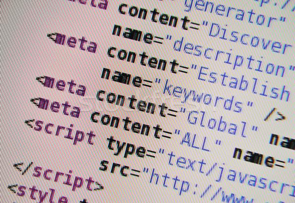 Html Код экране компьютер технологий фон Сток-фото © zurijeta