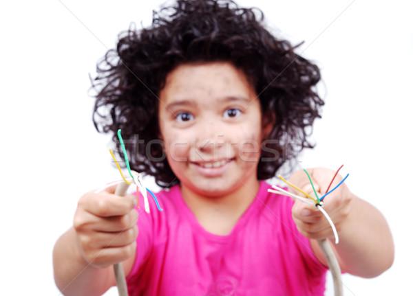 Electricity girl Stock photo © zurijeta