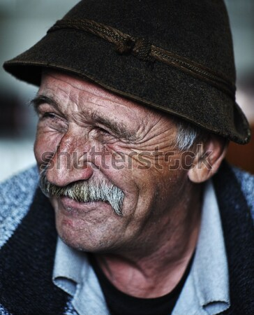 Portrait of old man with mustache Stock photo © zurijeta