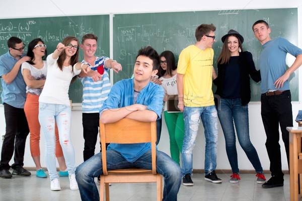 Zdjęcia stock: Student · znajomych · stwarzające · klasie · tle · edukacji
