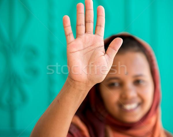 アフリカ ムスリム 少女 女性 手 笑顔 ストックフォト © zurijeta