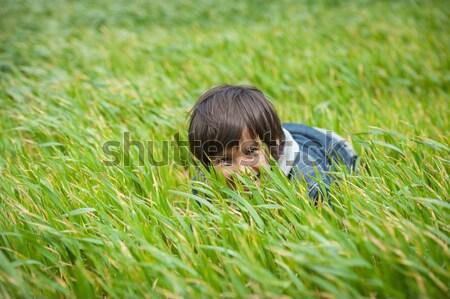 Stockfoto: Gelukkig · weinig · jongen · mooie · groene · Geel