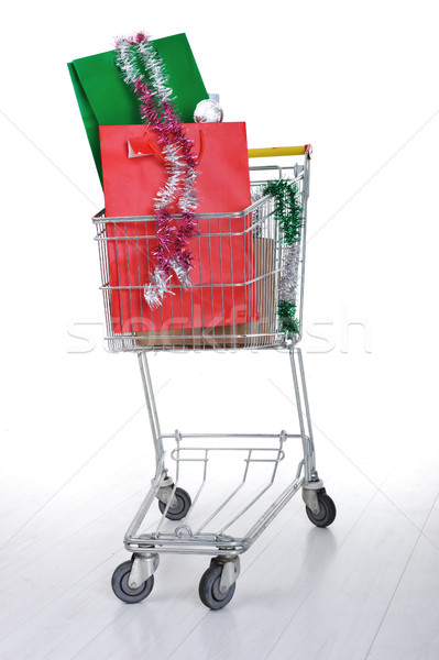 Shopping trolley cart with present boxes and bags Stock photo © zurijeta