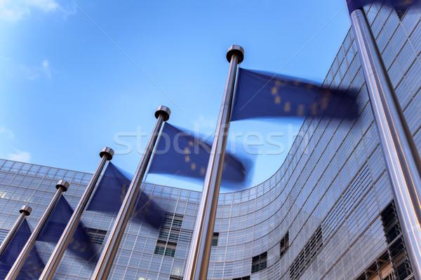 европейский Союза флагами здании закат Сток-фото © zurijeta
