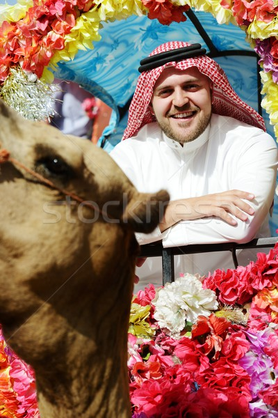 Man rides decorated camel Stock photo © zurijeta