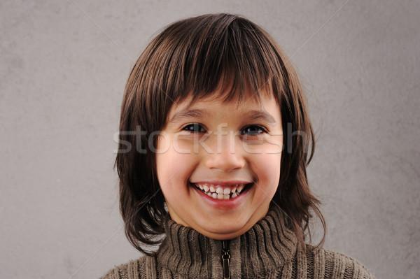 Photo stock: écolier · astucieux · Kid · ans · vieux · expressions · faciales
