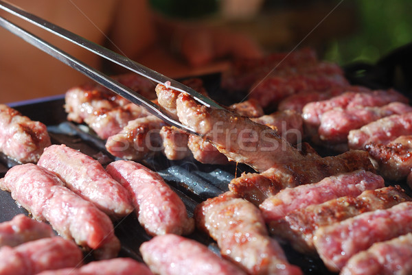 Cevap, a kind of rolled minced meat prepared on grill similar to Turkish kebab Stock photo © zurijeta
