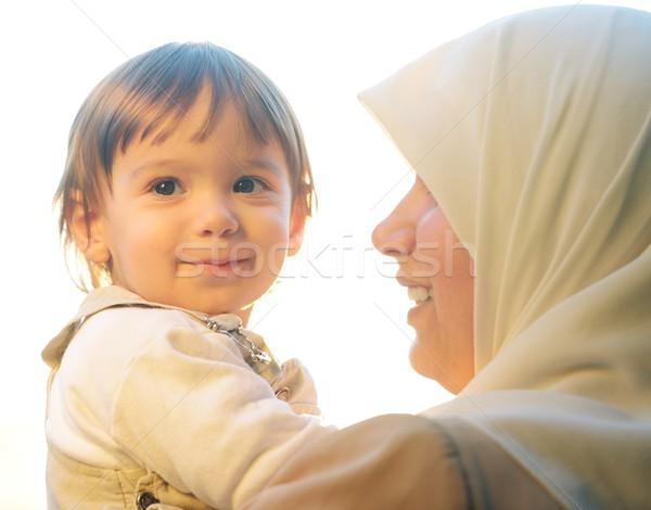 Muslim madre giocare piccolo baby Foto d'archivio © zurijeta