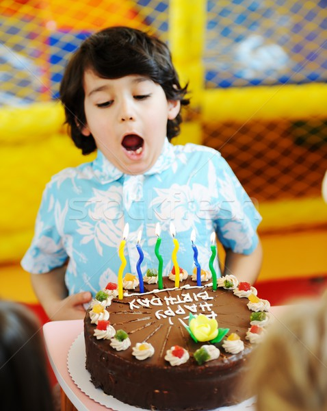Kinderen vieren verjaardagsfeest speeltuin kinderen Stockfoto © zurijeta