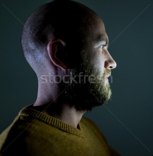 Chauve jeunes bel homme blond barbe portrait Photo stock © zurijeta
