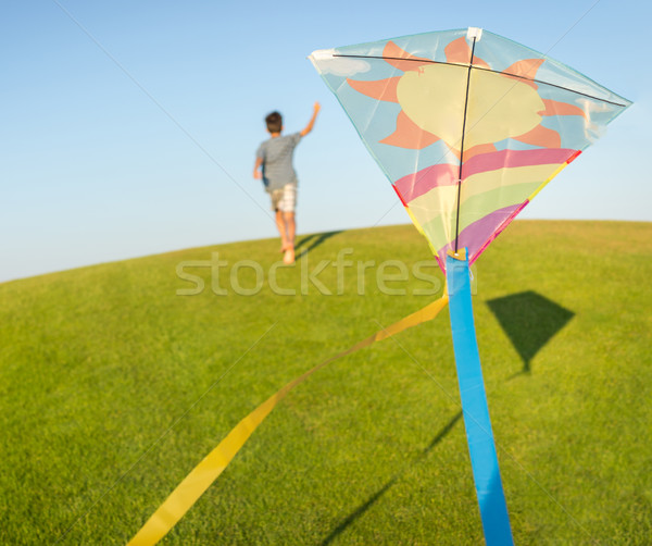 Running with kite on summer holiday vacation, perfect meadow and Stock fotó © zurijeta