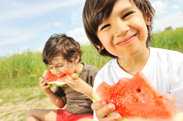 Eating watermelon outside Stock photo © zurijeta