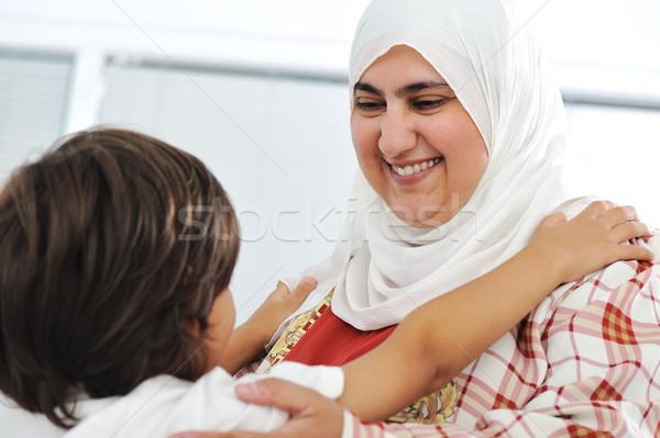 Muslim arabic mother and son Stock photo © zurijeta