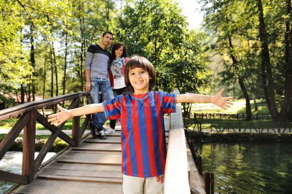 красивой сцена молодые счастливая семья природного парка Сток-фото © zurijeta