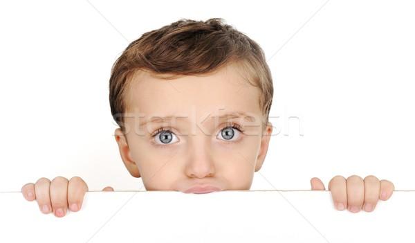 Mooie bruin haar jongen glimlach witte Stockfoto © zurijeta