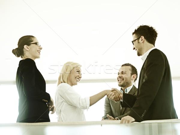 Foto stock: Bem · sucedido · pessoas · de · negócios · real · escritório · retro