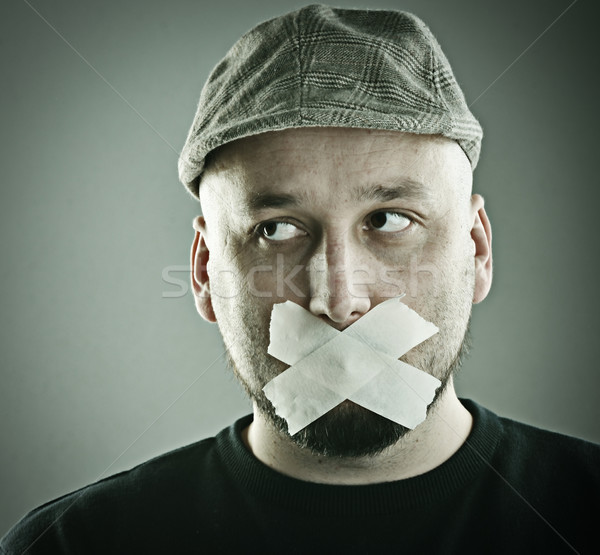 Man forbidden talking concept Stock photo © zurijeta