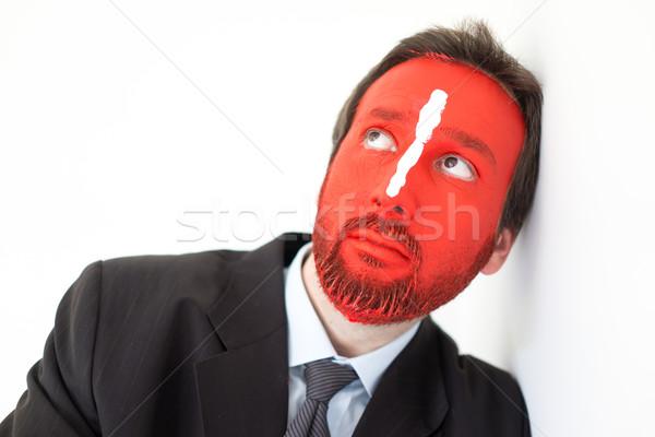Stockfoto: Geschilderd · man · Rood · gezicht · witte · lijn