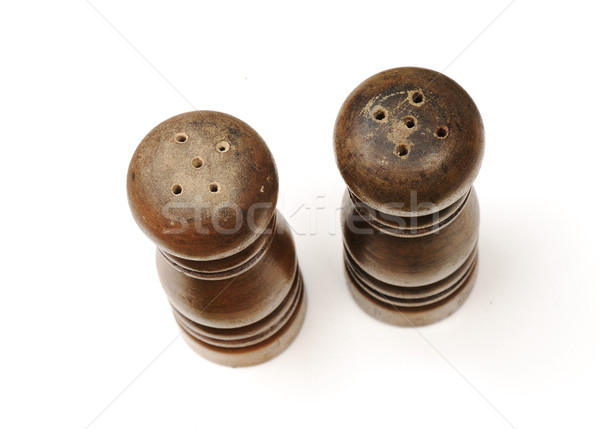 Wooden salt and pepper shakers isolated on white background Stock photo © zurijeta