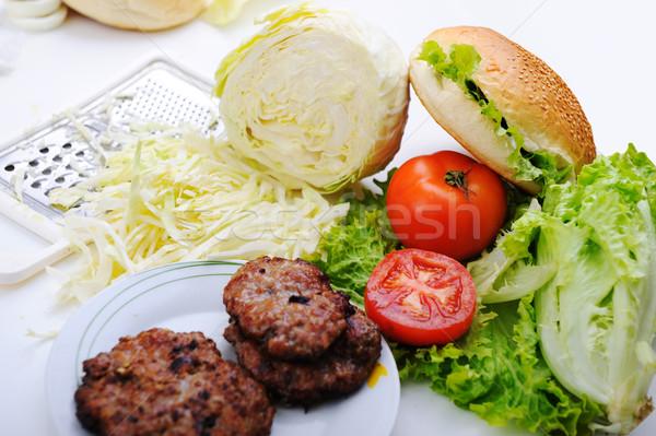 Stockfoto: Ingrediënten · hamburger · voedsel · tabel · groene · kaas