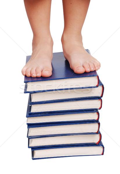 Weinig benen permanente boeken trap geïsoleerd Stockfoto © zurijeta