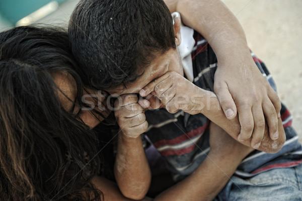 мало грязные брат сестра нищеты плохо Сток-фото © zurijeta