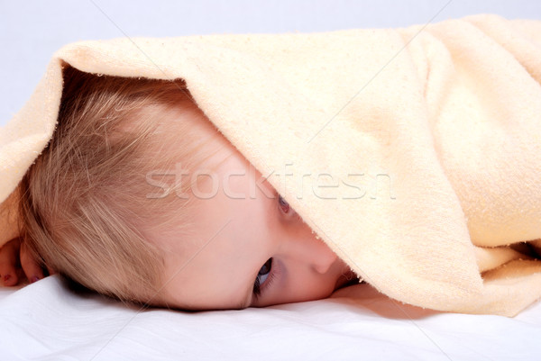 A beautiful smiling baby wrapped in a furry  blanket  Stock photo © zurijeta