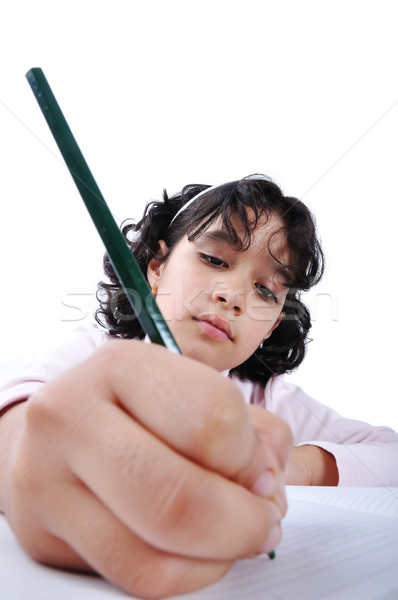 Jong meisje schrijven tijdschrift meisje school potlood Stockfoto © zurijeta