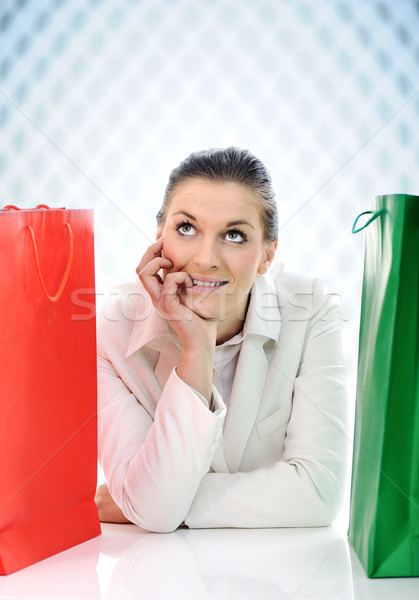 Young pretty woman with shopping bags with copy space Stock photo © zurijeta