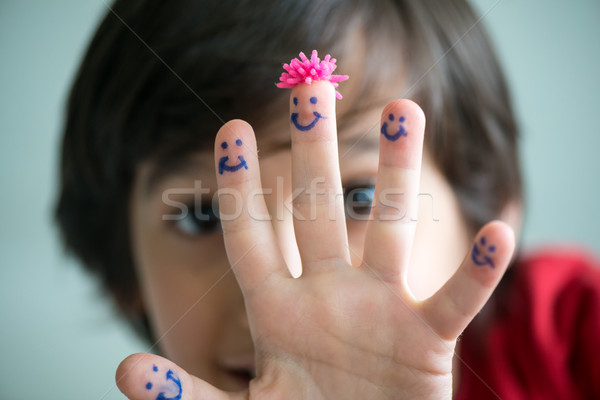 幸せ 指 スマイリー ビジネス 手 笑顔 ストックフォト © zurijeta