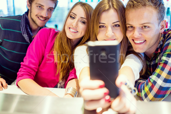 Authentic image of young real people having good time together u Stock photo © zurijeta