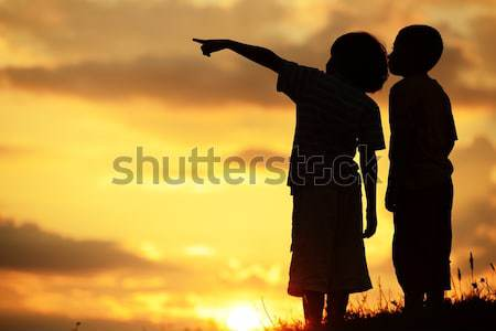Gyerekek játék nap nyár naplemente aktív Stock fotó © zurijeta