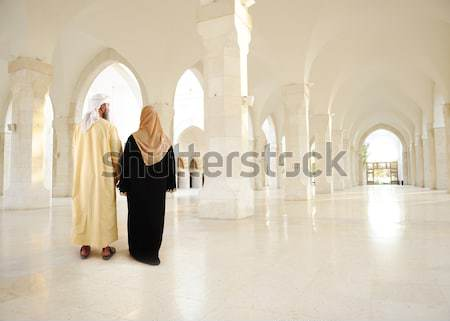 Madina mosque empty, conceptual indoor of oriental building. Fantastic background. Stock photo © zurijeta