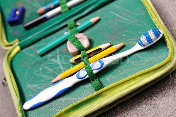Aged pen box with teeth brush in Stock photo © zurijeta