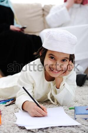 Ramadán lány mosoly iskola gyermek háttér Stock fotó © zurijeta